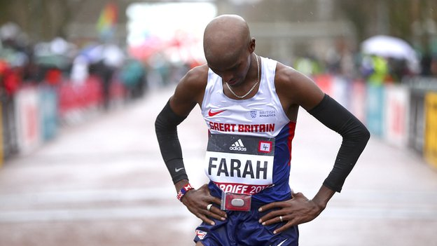 Mo Farah looking disappointed after finishing third at the World Half Marathon Championships in Cardiff