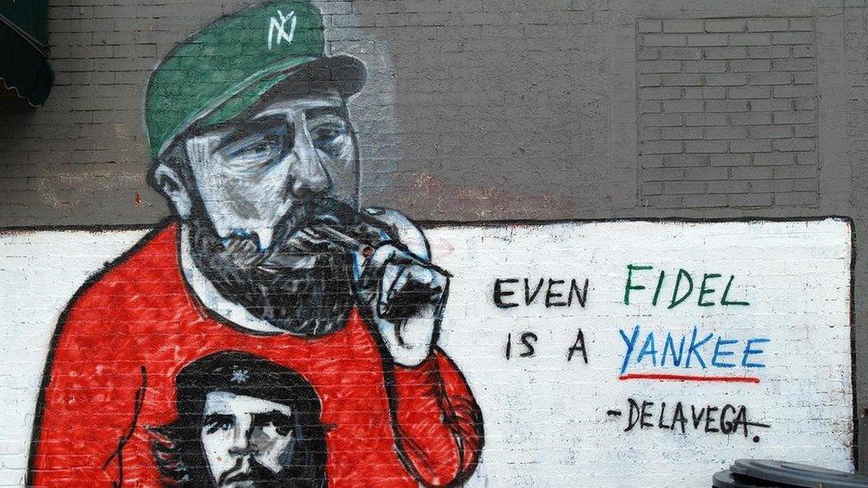 Un mural de Fidel Castro en Nueva York