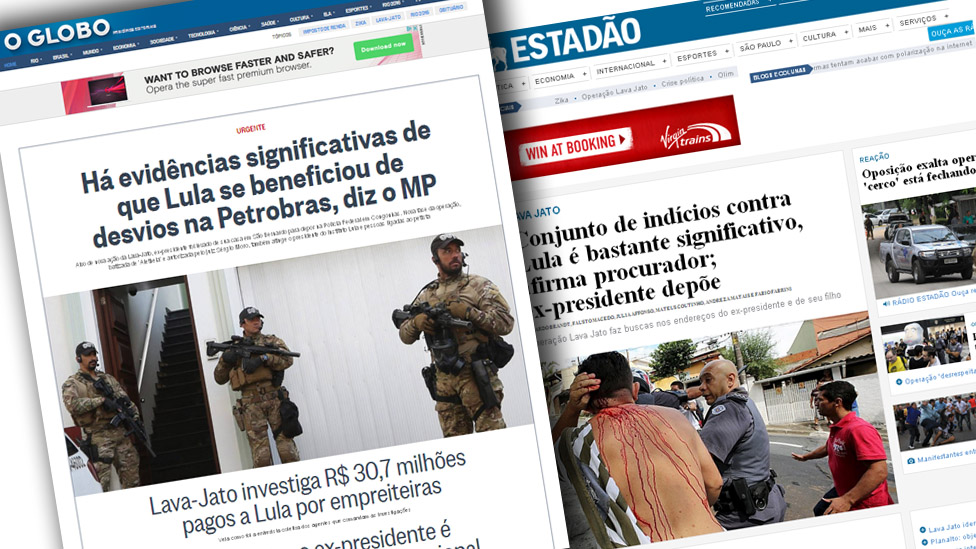 Top stories of Brazilian newspaper websites.