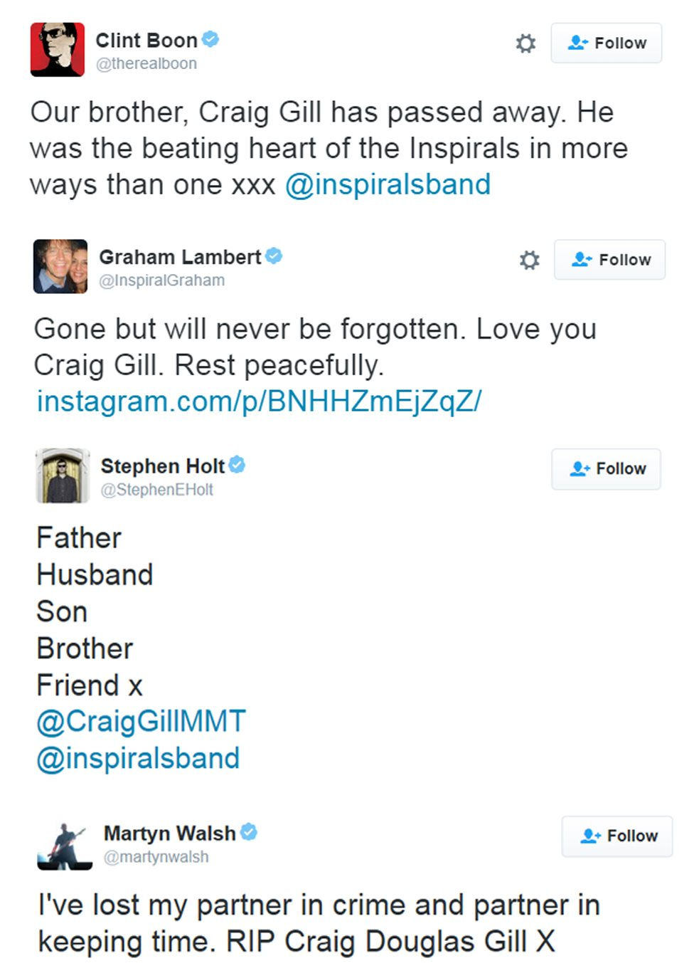 Tweets from Inspiral Carpets members