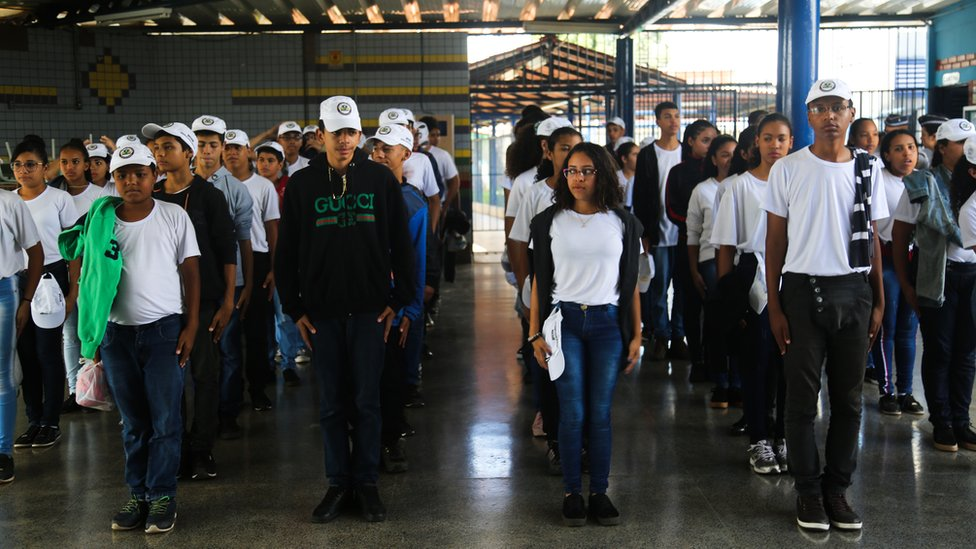 Students marching at school