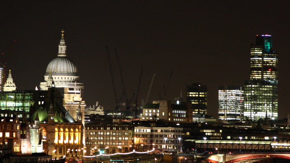 The skyline of London at night