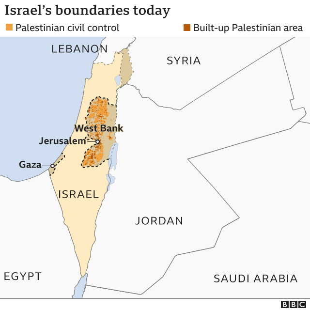 Map of Israel's boundaries today
