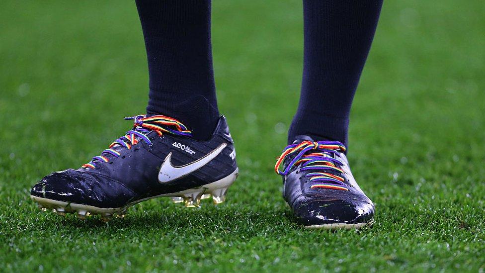 Rainbow laces at a Premier League match