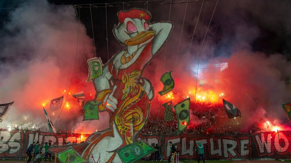 A giant duck puppet created by Wydad Casablanca football fans seen at a stadium in Casablanca, Morocco - Saturday 23 November 2019