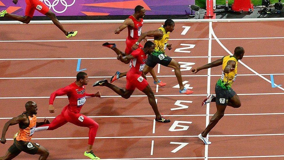 The finish line at the men's 100m at the 2012 London Olympics