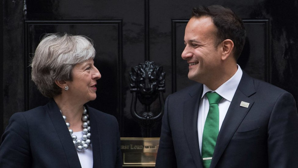 Britain's Prime Minister, Theresa May, greets Ireland's Taoiseach, Leo Varadkar, as he arrives in Downing Street