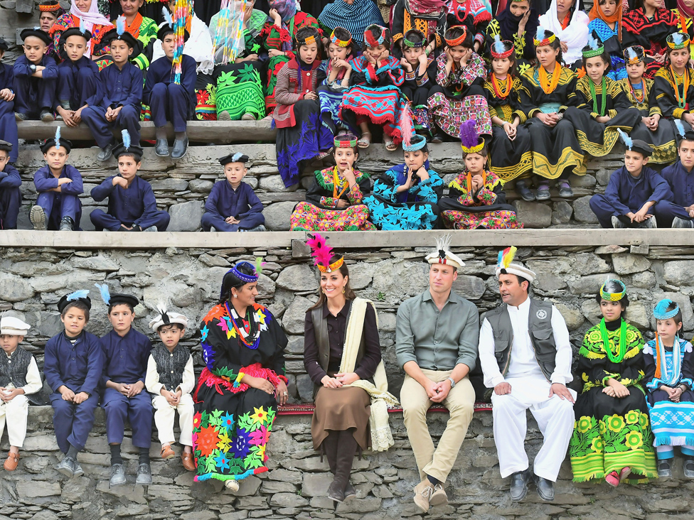 Prince William and Catherine, Duchess of Cambridge visit a settlement of the Kalash people in Chitral, Pakistan