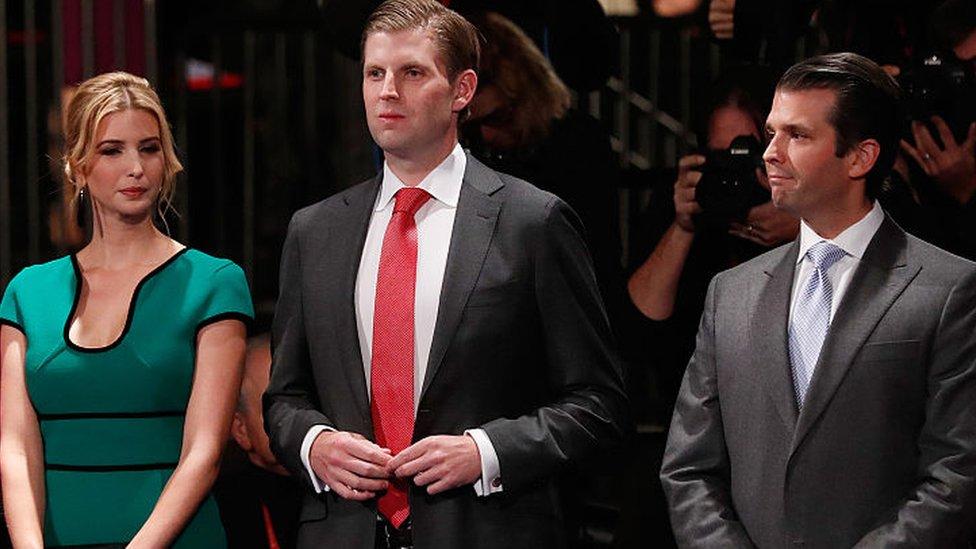 Ivanka Trump, Eric Trump y Donald Trump Jr.