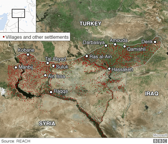 Satellite map showing settlements in north-eastern Syria