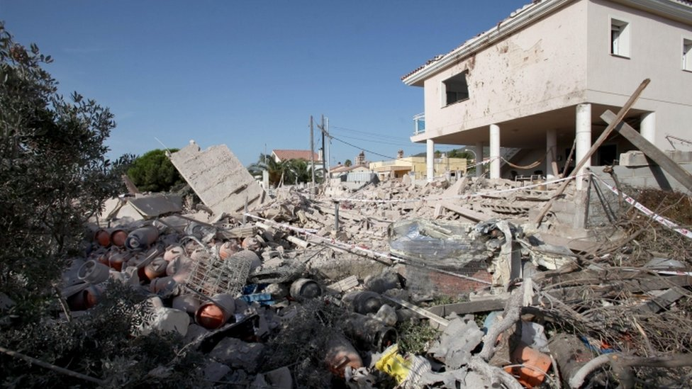 Police say the destroyed house in Alcanar is a focal point of the investigation