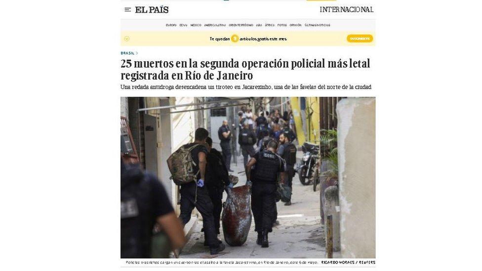 Reprodução do site do El País