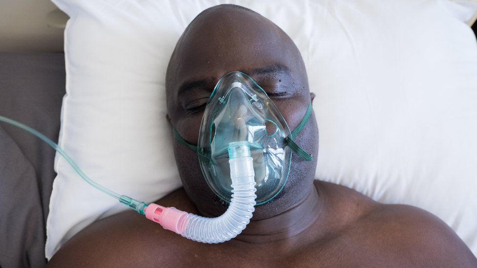 A man on a respirator in South Africa