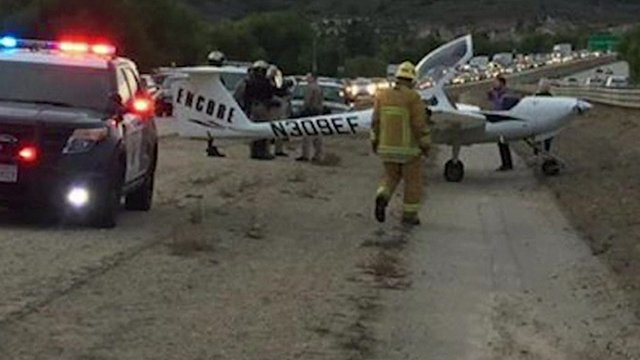 Plane on road in US