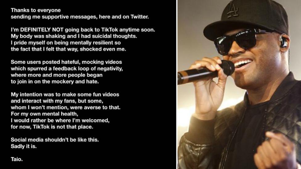 Taio Cruz's statement on Instagram