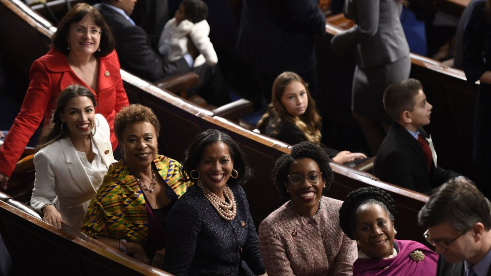 Representatives Alexandria Ocasio-Cortez(2ndL), a Democrat from New York, from left, Barbara Lee, a Democrat from California, Jahana Hayes, a Democrat from Connecticut, Lauren Underwood, a Democrat from Illinois, and Sheila Jackson-Lee, a Democrat from Texas