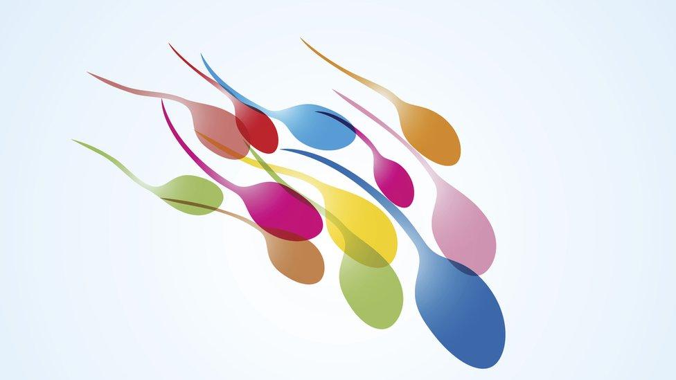 Ilustración de espermatozoides de colores.