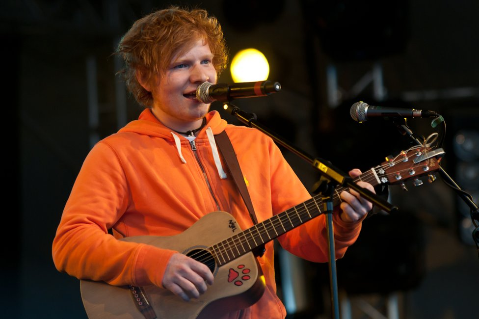 Ed Sheeran performing in 2011