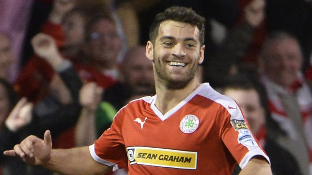 David McDaid celebrates after scoring Cliftonville's winner in the Europa League play-off against Glentoran