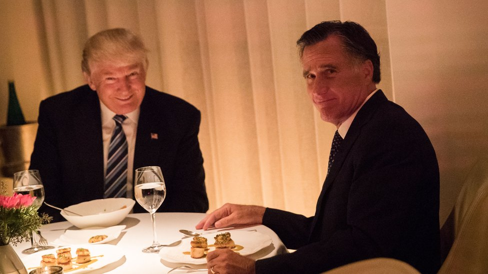 President-elect Donald Trump and Mitt Romney dine at Jean Georges restaurant in New York in 2016.