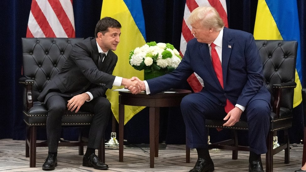 Ukraine's President Volodymyr Zelensky and US President Donald Trump meeting on the sidelines of the United Nations General Assembly in New York on Wednesday