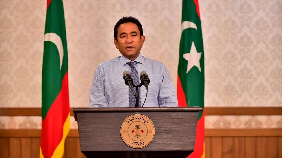 Maldivian President Abdulla Yameen speaks as he gives a statement at President office in Male, Maldives September 24, 2018