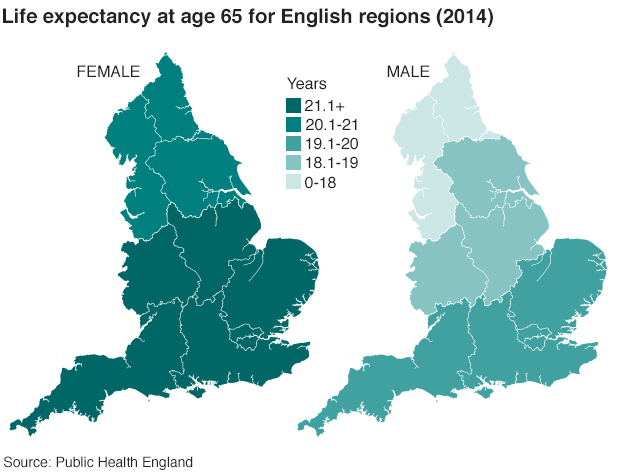Two maps showing the regional differences in life expectancy for men and women at age 65