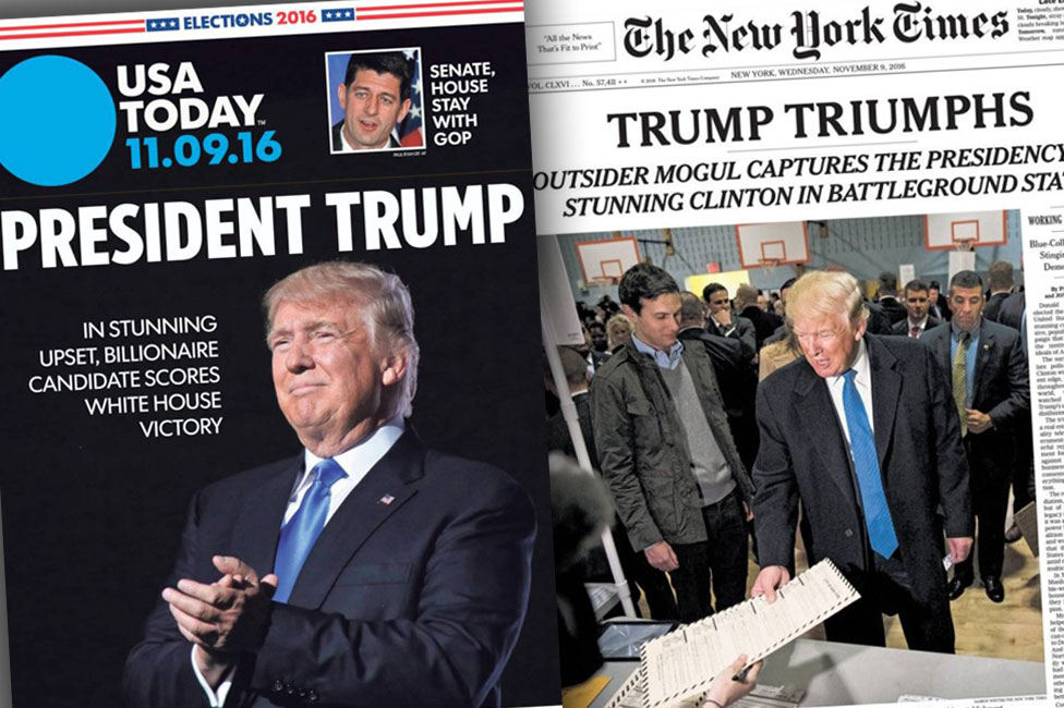 USA Today and New York Times front covers