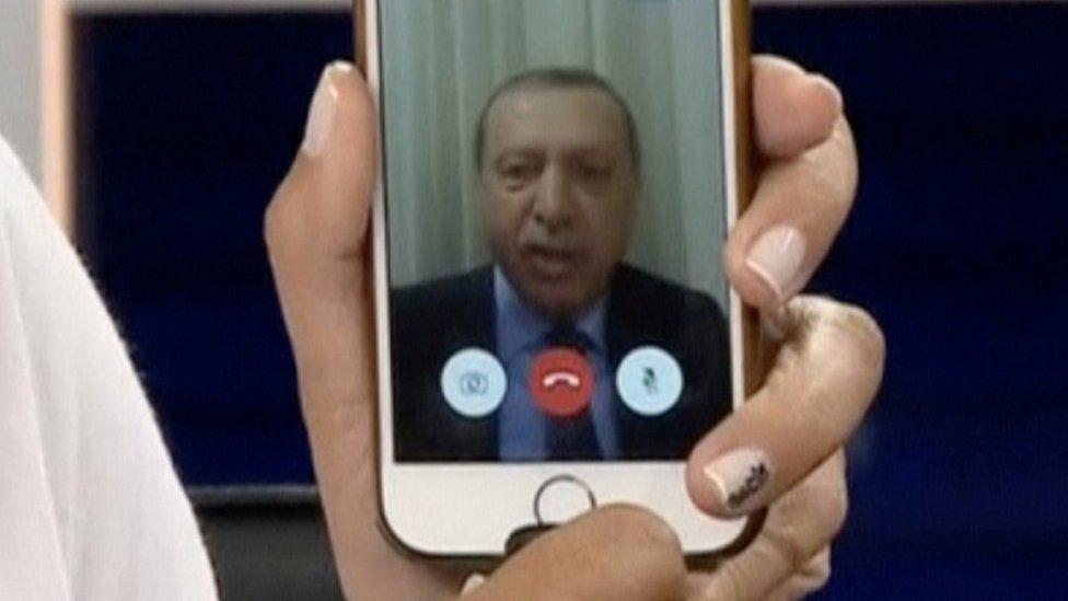 Turkish President Recep Tayyip Erdogan speaks via Facetime to CNN