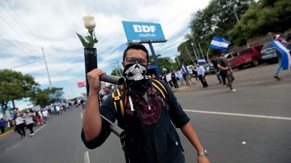 Manifestante con mortero del que sale una rosa blanca.