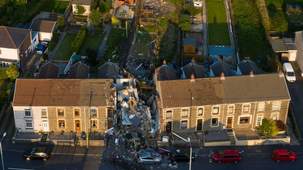 Aerial image showing damage to house in Seven Sisters, Neath Port Talbot