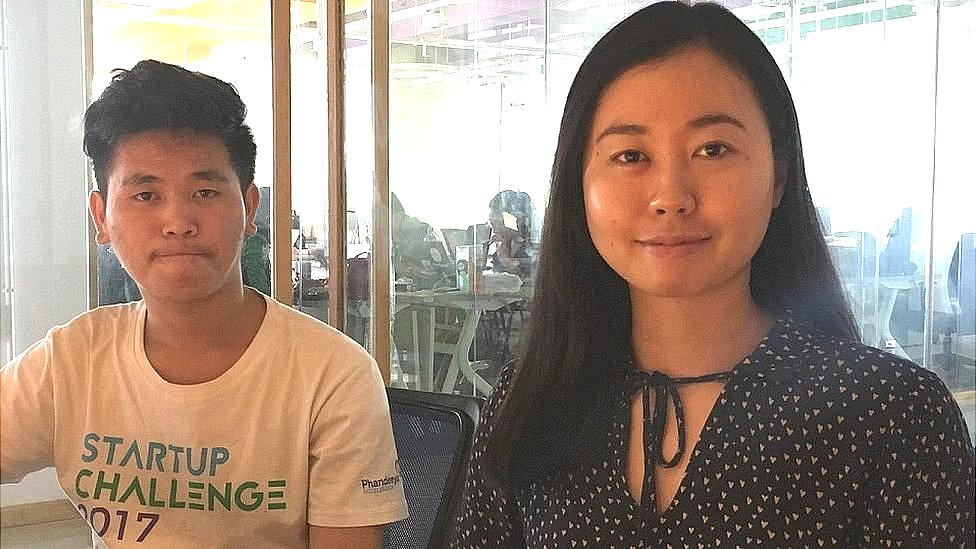 RecyGlo co-founders Shwe Yamin Oo (right) and Soe Moe Aung