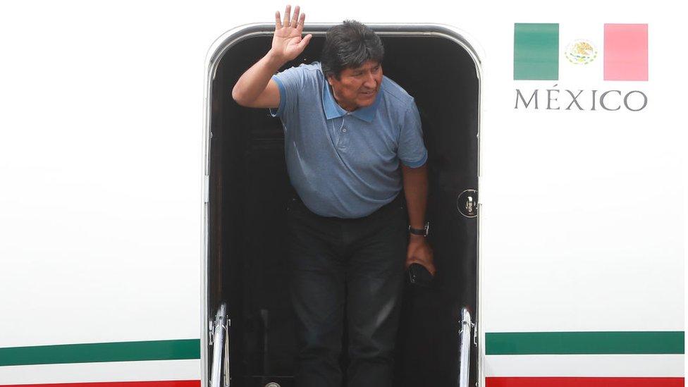 Evo Morales a su llegada a Ciudad de México