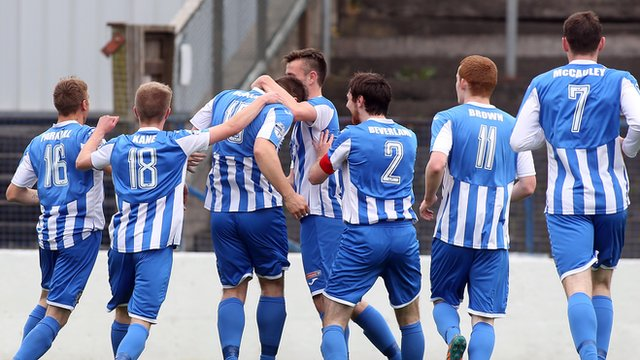 Coleraine players celebrate James McLaughlin's stunning volley against Dungannon Swifts