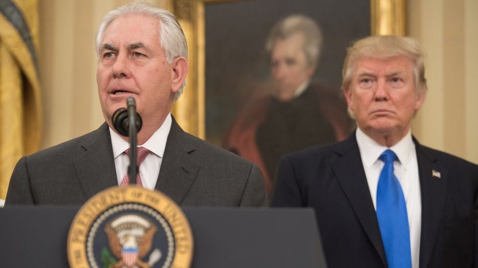 Rex Tillerson speaks after being sworn in as US secretary of state
