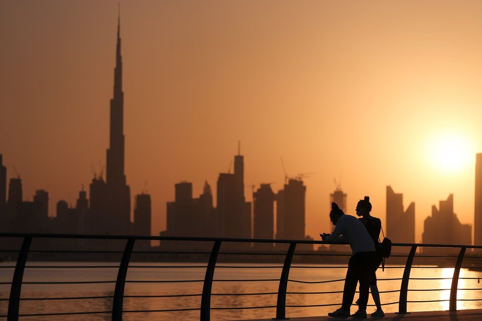 Dubai skyline at sunset (15 September 2020)