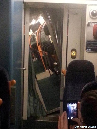 Photo by passenger showing train carriage tilting
