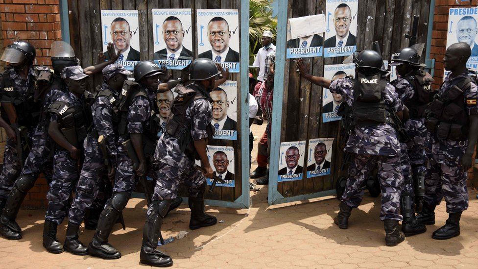 Uganda police outside the FDC headquarters