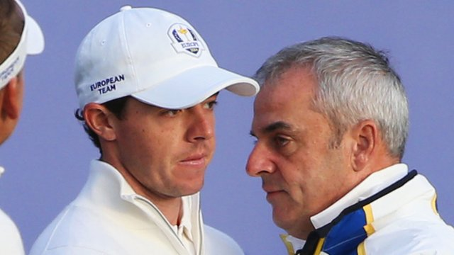 Rory McIlroy with Paul McGinley at the 2014 Ryder Cup