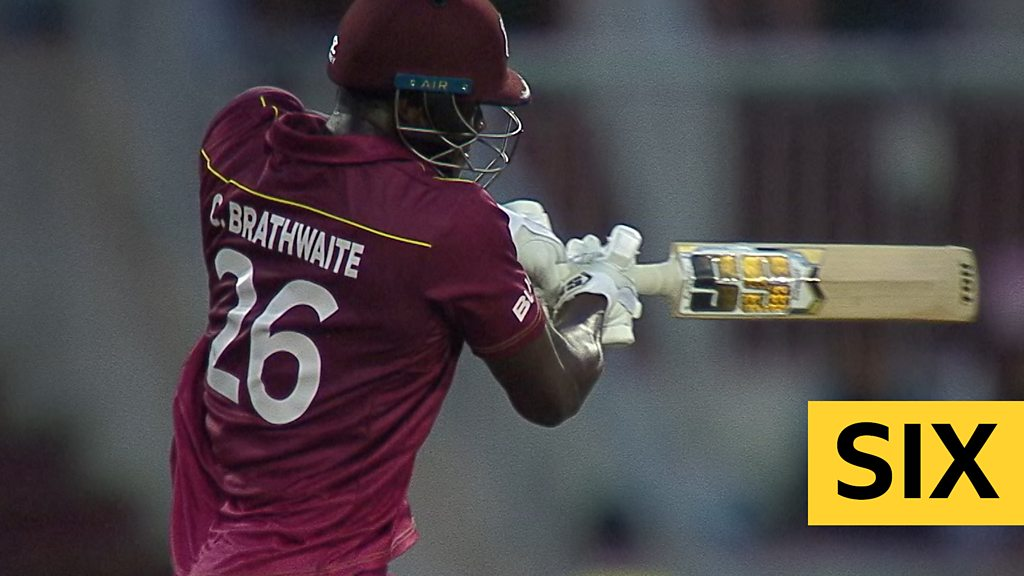 Cricket World Cup: West Indies' Carlos Brathwaite hits three sixes and a four in run chase against New Zealand
