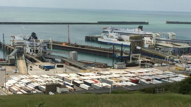 Lorries in Dover unable to get to Calais due to strike action