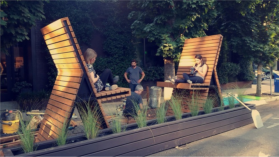 """""""A Dialogue"""" was one of two winning designs selected for the Design Week Street Seat Design Competition. Two finalists were selected out of 16 submittals and will be on installed outside of Center for Architecture from September 19, 2014 through October 30, 2014."""