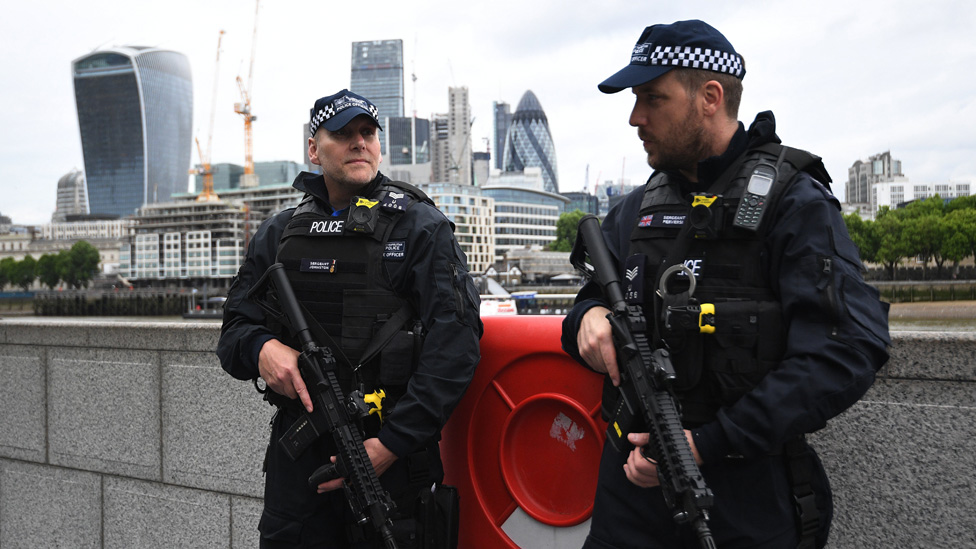 Two armed police officers pictured on south bank of thames with London buildings in background including the Gherkin and the Walkie Talkie