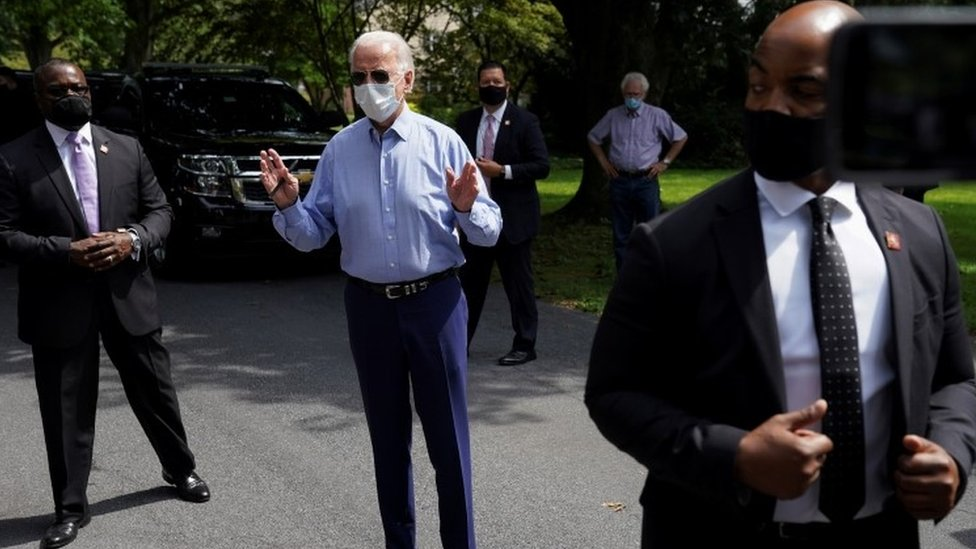 Joe Biden on the campaign trail in Lancaster, Pennsylvania, on 7 September 2020