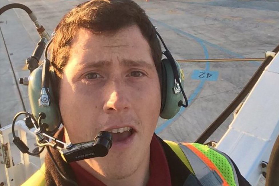 """Undated """"selfie"""" picture available on social media on August 11, 2018 shows Richard B Russell, a ground service agent at the Seattle-Tacoma International Airport"""