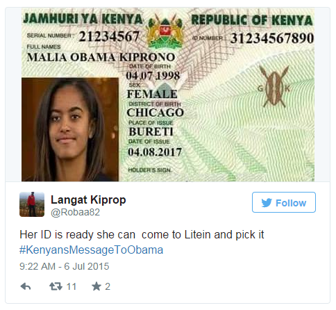 Litein is a small town in western Kenya - this mocked-up ID card shows the surname of Felix Kiprono, the lawyer who says he'll ask for Malia Obama's hand in marriage