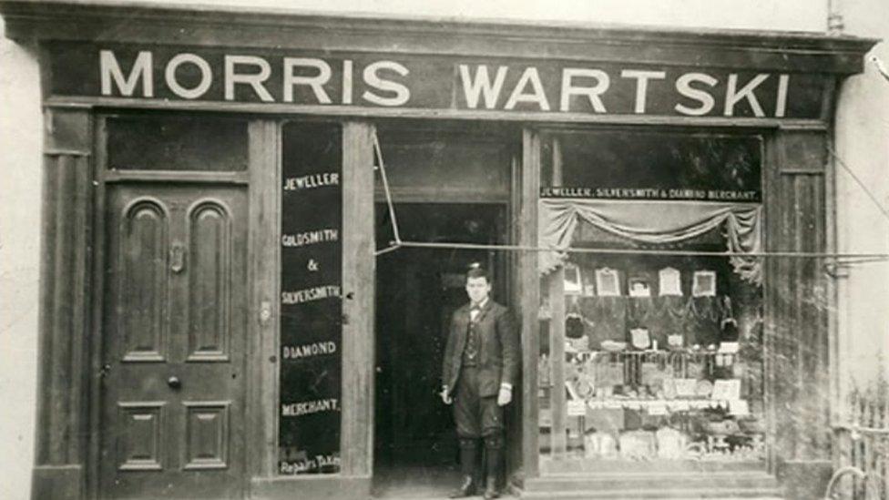 Old photograph of the Wartski shop in Bangor