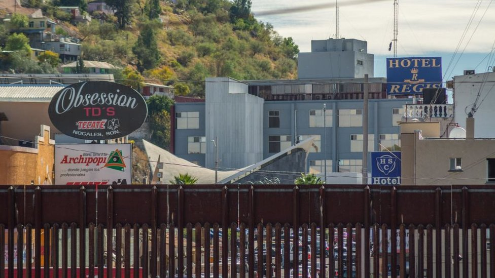 Fence and view of Nogales, Sonora