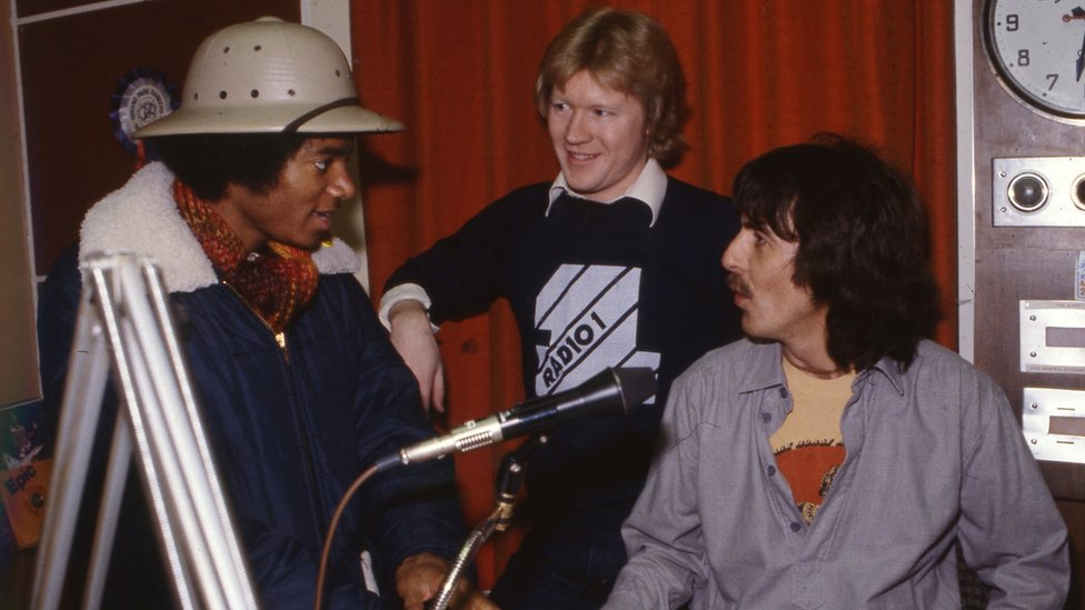 Michael Jackson, David Jensen and George Harrison at Radio 1 in 1979