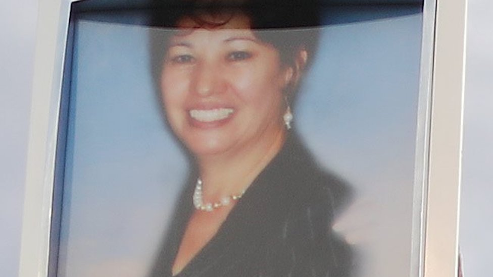 A photo (top) of Elsa Mendoza Marquez, a Mexican schoolteacher from Ciudad Juarez who was killed in the shooting,
